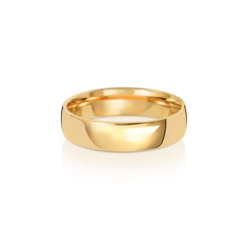 Treasure 18Ct Yellow Gold 5mm Slight Court Wedding Ring