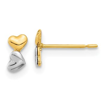 14k Madi K Two-tone Childrens Double Heart Post Earrings