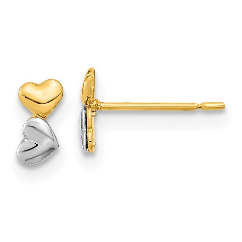 Quality Gold 14k Madi K Two-tone Childrens Double Heart Post Earrings
