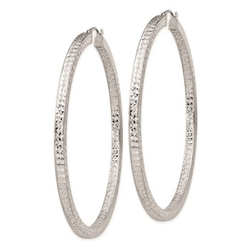 Sterling Silver Rhodium-plated Diamond-cut 3x60mm Square Tube Hoop Earrings