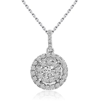 14k White Gold .50 Ct. Clustaire Pendant