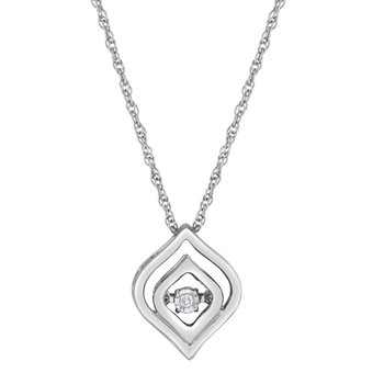 SILVER 0.01CTW HEARTBEAT WITH MIRACLE PLATE PENDANT
