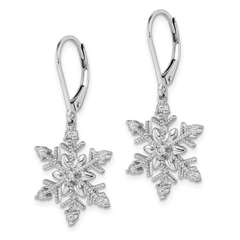 Sterling Silver Rhodium Diam. Snowflake Leverback Earrings