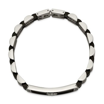 Stainless Steel Brushed and Polished Black IP-plated 8.25in ID Bracelet