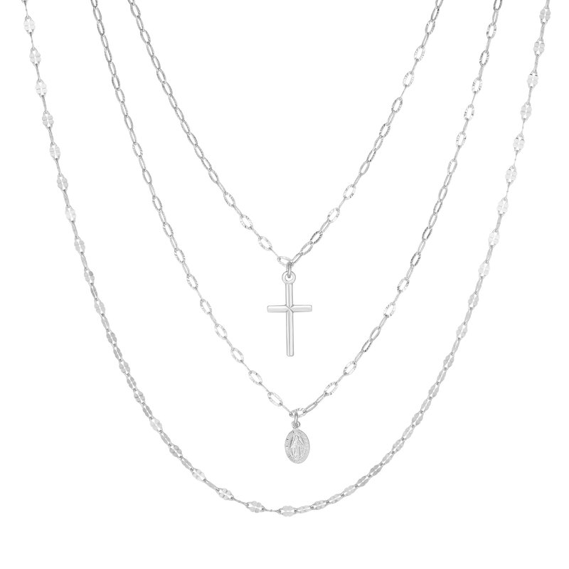 Royal Chain Silver Triple Strand Religious Fashion Necklace