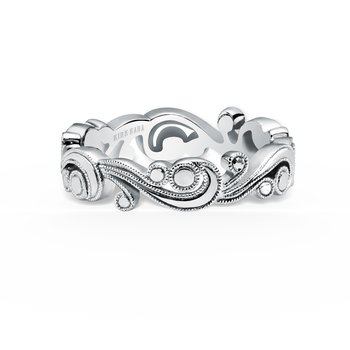 Whimisical Milgrain Waves Wedding Band