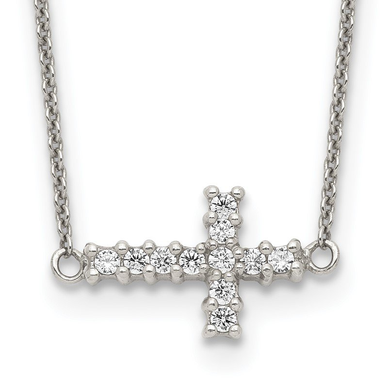 Quality Gold Sterling Silver 18in CZ Sideways Cross Necklace