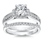 Caro74 Inspired Vintage Collection Engagement Ring With Side Stones in 14K White Gold with Platinum Head (1ct. tw.)