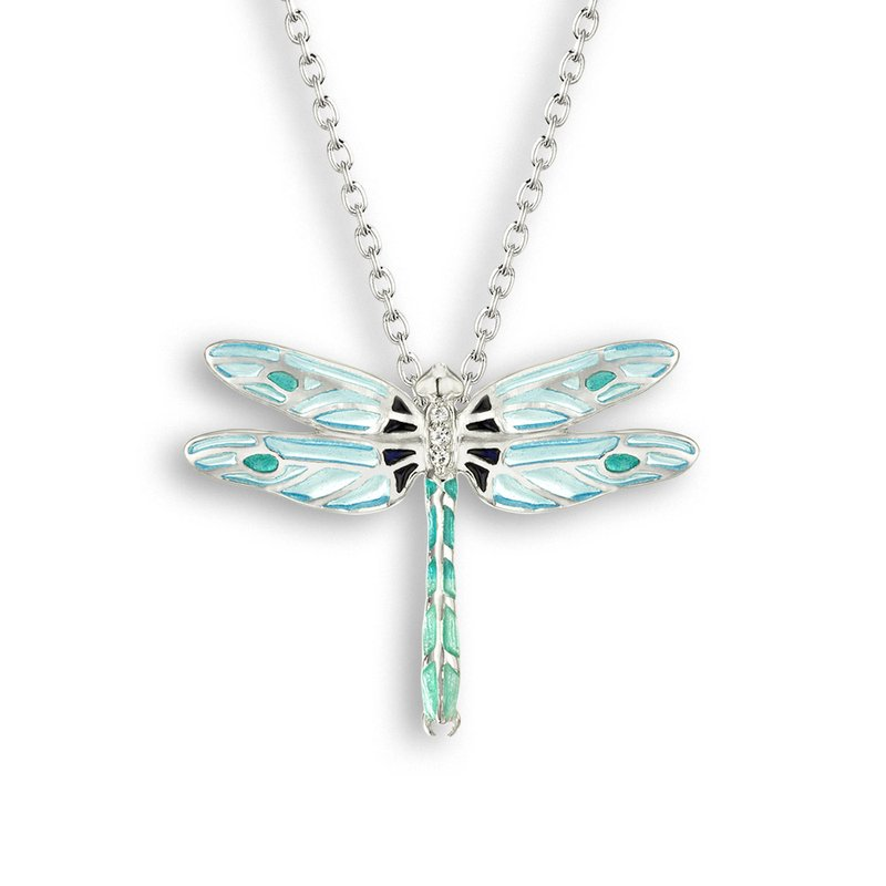 Nicole Barr Designs Blue Dragonfly Necklace.Sterling Silver-White Sapphire - Plique-a-Jour