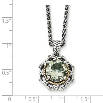 Sterling Silver w/14k Antiqued Green Quartz and Diamond Necklace