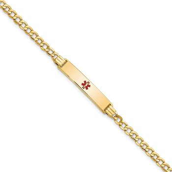 14K Semi-solid Medical Polished Red Enamel Cuban ID Bracelet