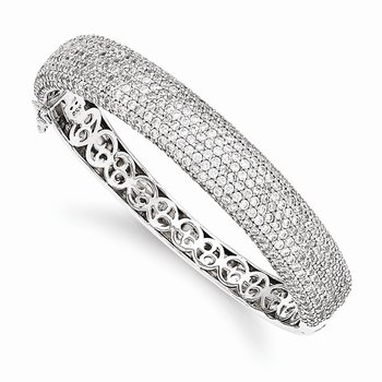 Sterling Silver Pav? Rhodium-plated 504 Stone CZ Hinged Bangle