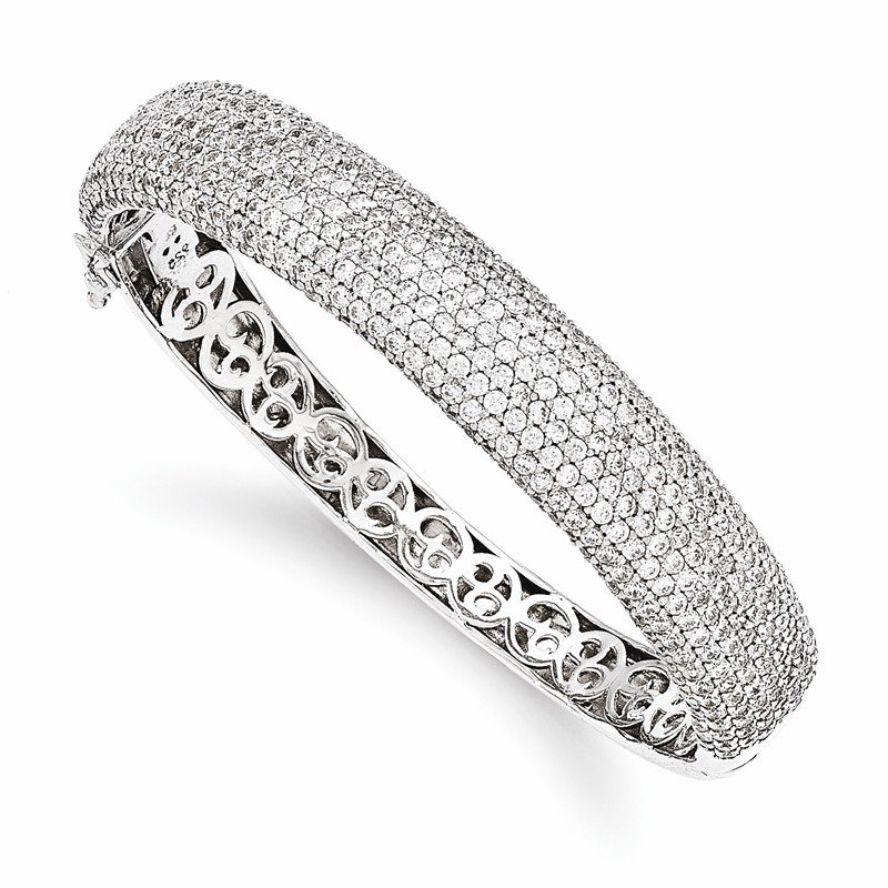 Quality Gold Sterling Silver Pav? Rhodium-plated 504 Stone CZ Hinged Bangle