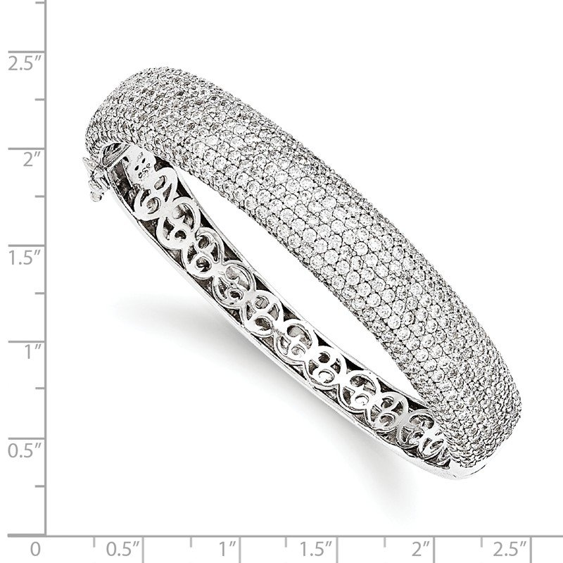 Fine Jewelry by JBD Sterling Silver Pav? Rhodium-plated 504 Stone CZ Hinged Bangle