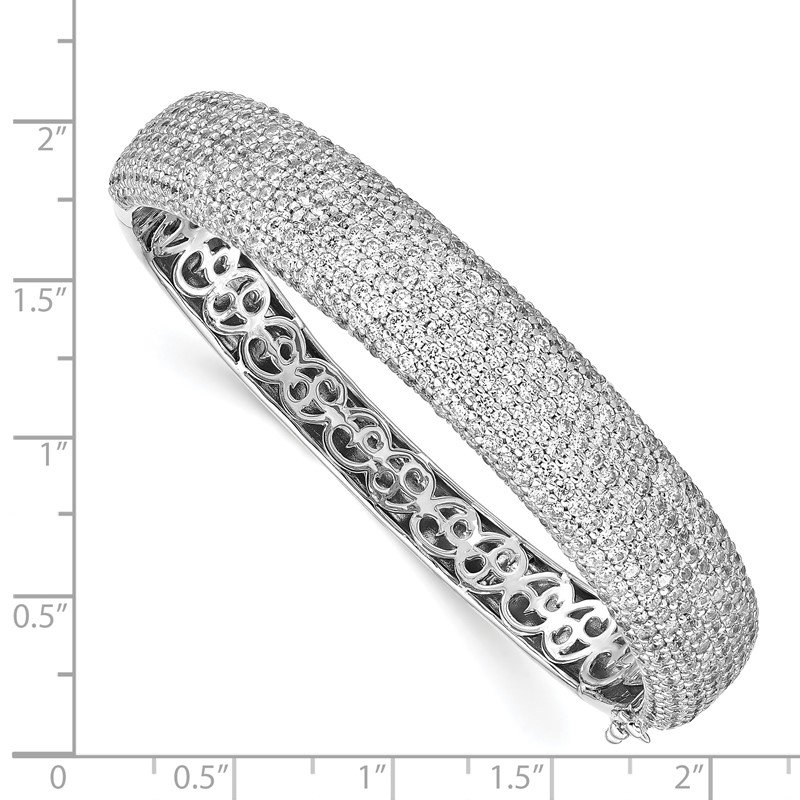 J.F. Kruse Signature Collection Sterling Silver Pav? Rhodium-plated 504 Stone CZ Hinged Bangle