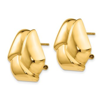 14k Polished Knot Omega Back Post Earrings