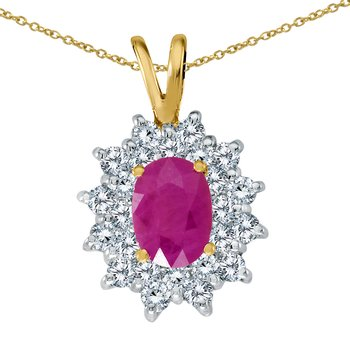 14k Yellow Gold Ruby Oval Pendant with Diamonds
