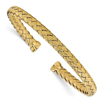 Leslie's Sterling Silver Gold-plated Polished Woven Cuff Bangle