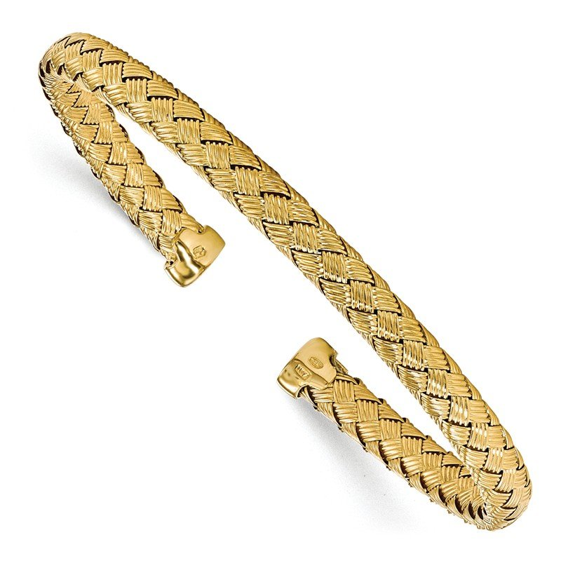 Leslie's Leslie's Sterling Silver Gold-plated Polished Woven Cuff Bangle