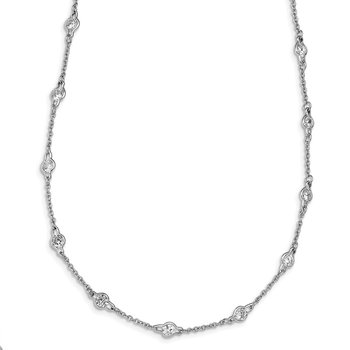 Cheryl M Sterling Silver Rhodium-plated Polished CZ Stations 18in Necklace