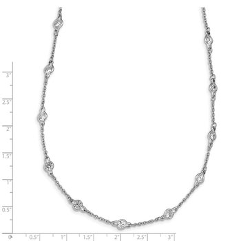 Cheryl M SS Polished CZ Stations Necklace