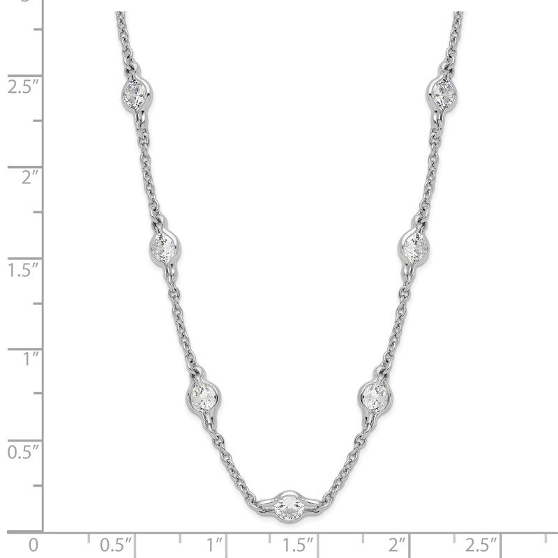 Cheryl M Cheryl M Sterling Silver Rhodium-plated Polished CZ Stations 18in Necklace