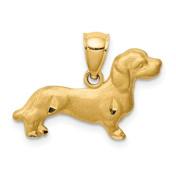 14K Diamond-cut Dachshund Pendant