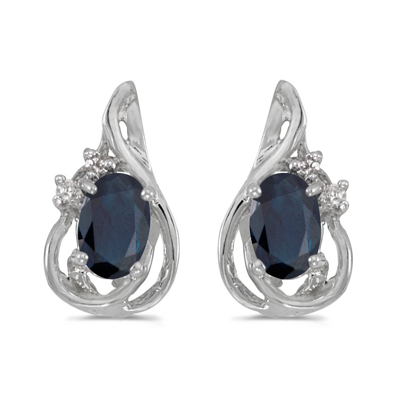 Color Merchants 10k White Gold Oval Sapphire And Diamond Teardrop Earrings