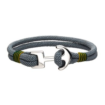 Grey Paracord Rope with Steel Anchor Clasp Bracelet