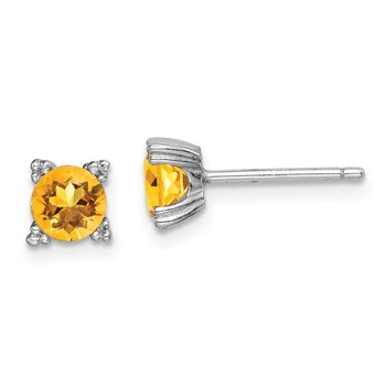 Sterling Silver Rhodium-plated Round 5mm Citrine Post Earrings