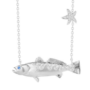 "14K Fish Pendant with 0.06C Diamonds & Sapphire Eye, 18"" Chain 1"" long by 1/4"" wide"