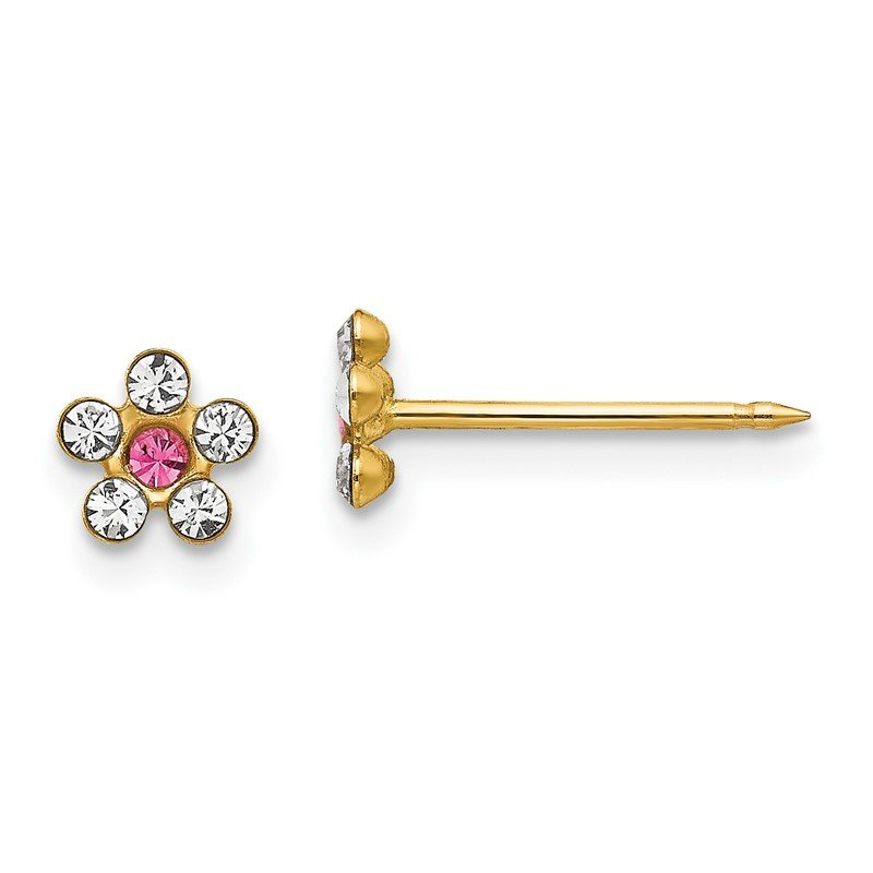 Quality Gold Inverness 14k Clear/Rose Crystal Flower Earrings
