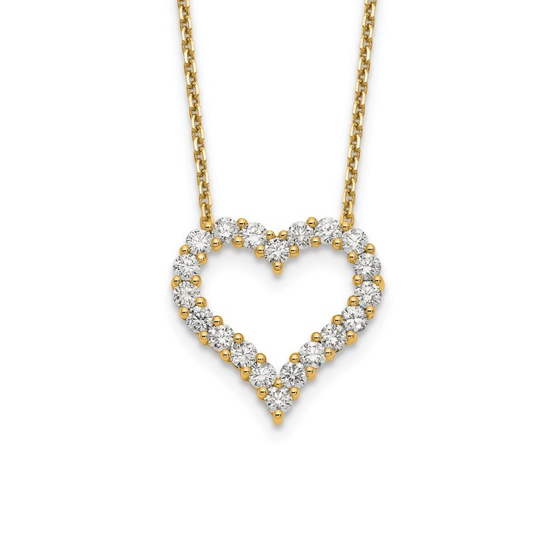 Quality Gold 14ky True Origin Lab Grown Diamond VS/SI, D E F, Heart Pendant Necklace