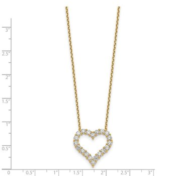 14ky True Origin Lab Grown Diamond VS/SI, D E F, Heart Pendant Necklace
