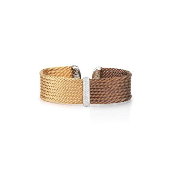Bronze & Rose Cable Medium Colorblock Cuff with 18kt White Gold & Diamonds