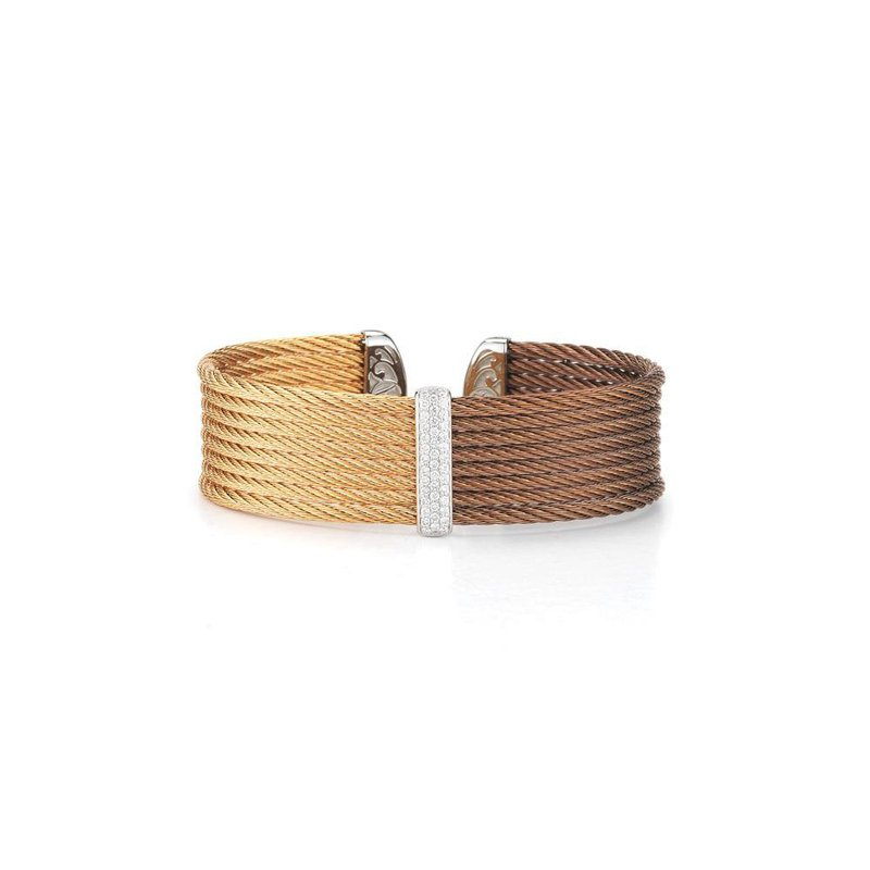 ALOR Bronze & Rose Cable Medium Colorblock Cuff with 18kt White Gold & Diamonds
