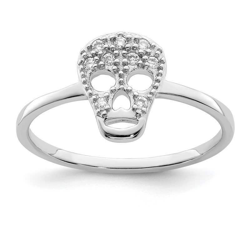 Lester Martin Online Collection Sterling Silver Rhodium-plated CZ Skull Ring
