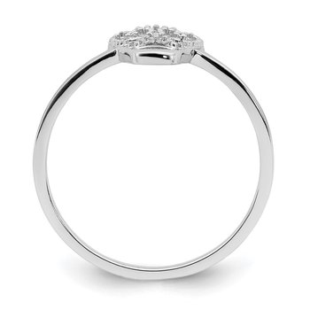 Sterling Silver Rhodium-plated CZ Skull Ring