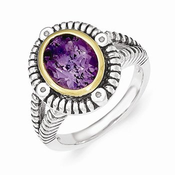Sterling Silver w/14k Amethyst w/Diamond Ring