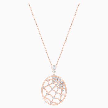 Precisely Pendant, White, Rose-gold tone plated
