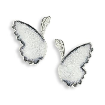 Black and White Butterfly Stud Earrings.Sterling Silver