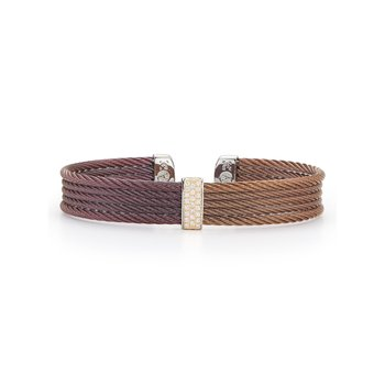 Burgundy & Bronze Cable Mini Cuff with 18kt Yellow Gold & Diamonds