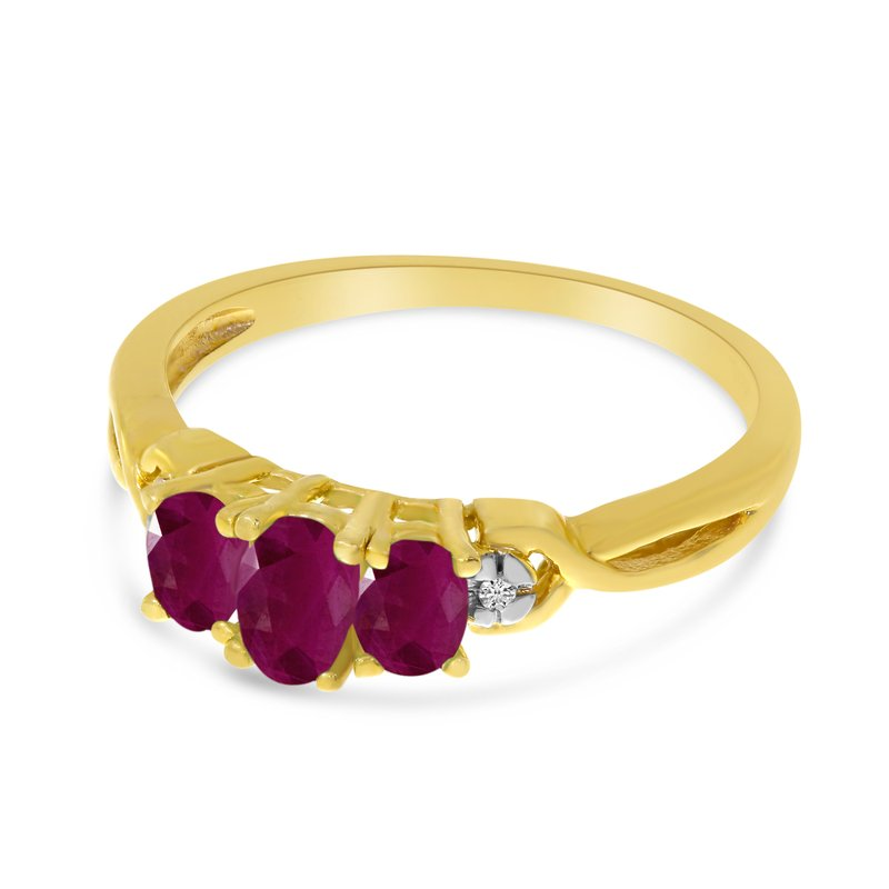 14k Yellow Gold Oval Ruby And Diamond Three Stone Ring