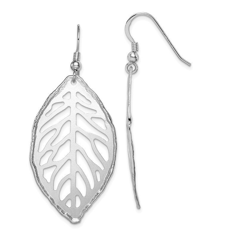 Quality Gold Sterling Silver Rhodium-plated Satin Cut-Out Leaf Dangle Earrings