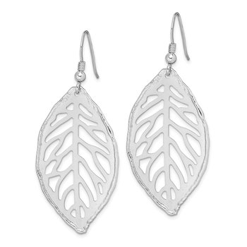 Sterling Silver Rhod-plated Satin Cut-Out Leaf Leverback Earrings