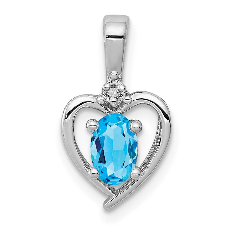 Quality Gold Sterling Silver Rhodium-plated Light Swiss Blue Topaz & Diam. Pendant
