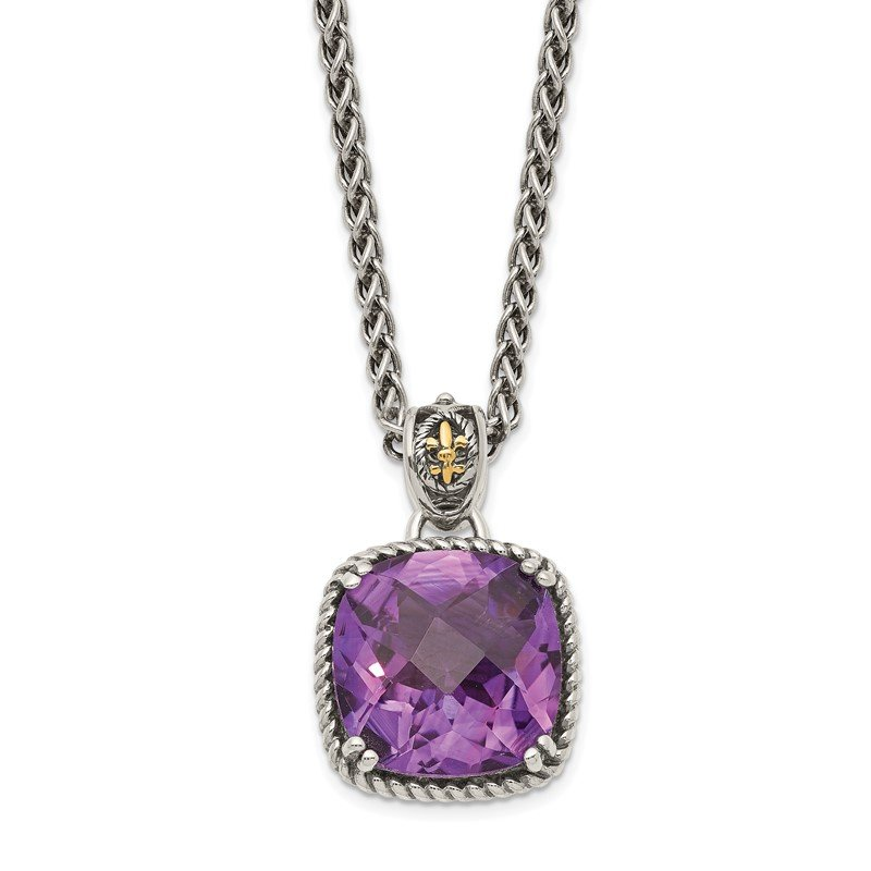 Arizona Diamond Center Collection Sterling Silver w/14k Amethyst Necklace