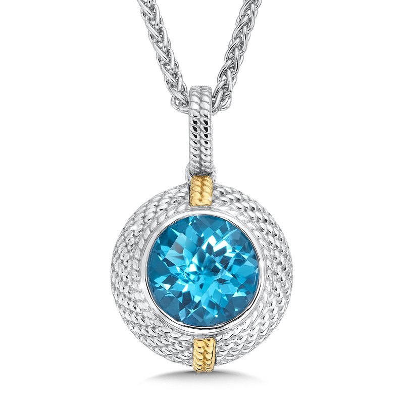 Colore Sg Sterling Silver Swiss Blue Topaz Pendant