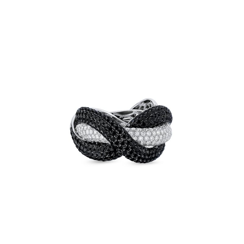 Roberto Coin 18Kt Gold Twist Ring With Black And White Diamonds