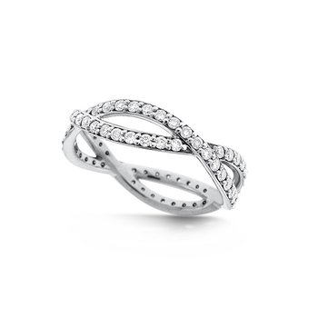Diamond Infinity Ring in 14k White Gold with 72 Diamonds weighing .72ct tw.